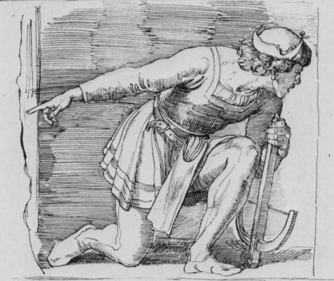 Julius Schnorr von Karolsfeld. The kneeling shooter with a crossbow