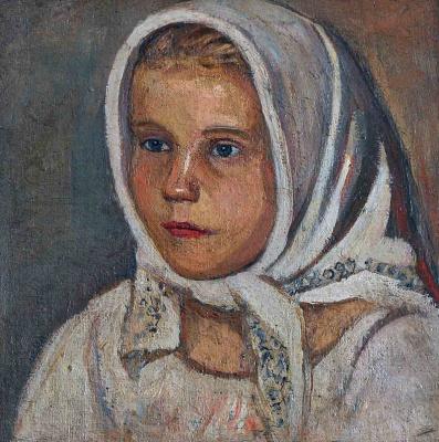 Ефим Васильевич Честняков (Самуилов). Портрет девушки в белом платке