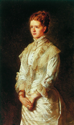 Konstantin Makovsky. Portrait of a girl in a white dress