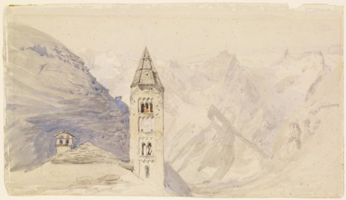 John Ruskin. View of the church tower from the top of Mont Blanc