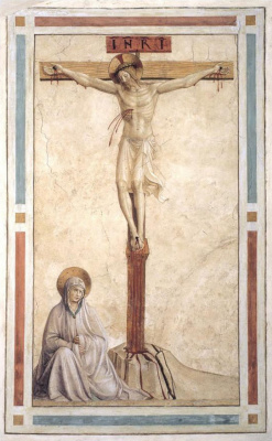 Fra Beato Angelico. Crucifix with Mother of God. Fresco of the Monastery of San Marco, Florence
