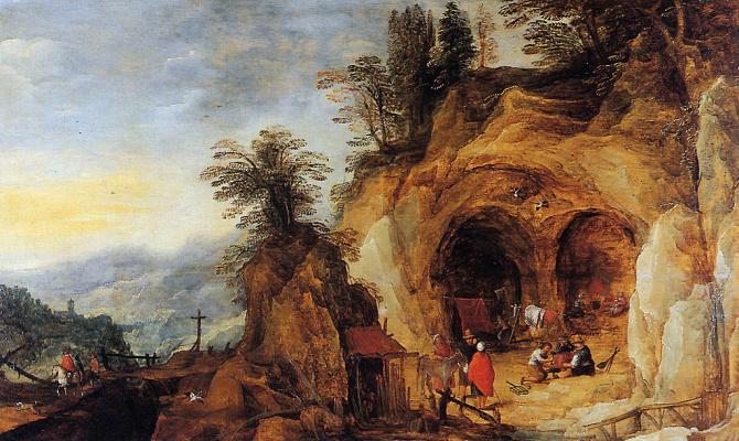 Де Момпер. Горный пейзаж с пещерами