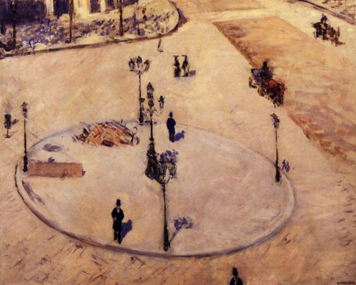 Gustave Caillebotte. An island of security. Boulevard Haussmann