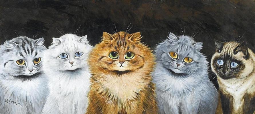 Louis Wain. Five cats, Redhead headed
