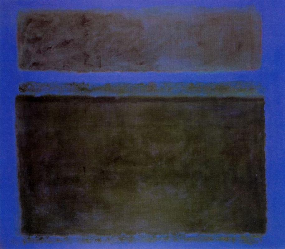 Марк Ротко. № 15 (Темно-зеленый на синем фоне с зеленой полосой)
