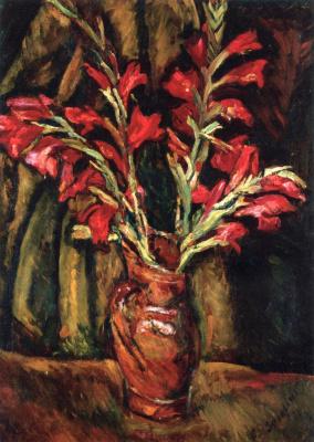 Haim Solomonovich Soutine. Red gladiolus in vase