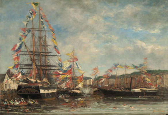 Eugene Boudin. Festival in the Harbor of Honfleur