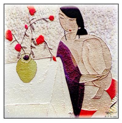 Ху. Девушка и ваза с цветами