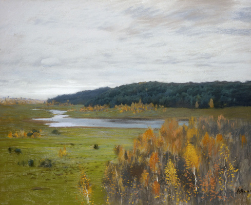 Isaac Levitan. The valley of the river. Autumn