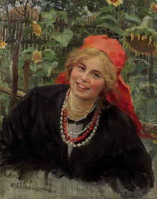 Федор Васильевич Сычков. Крестьянская девушка в красном платке на фоне пейзажа. 1923