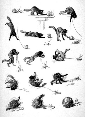 Теофиль-Александр Стейнлен. Кошки: картины без слов. Кот и вязание