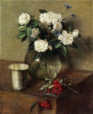 Henri Fantin-Latour. White roses and cherries