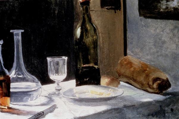 Клод Моне. Натюрморт с бутылкой, графином, хлебом и вином