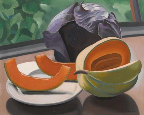 Auguste Erben. Still life with melon