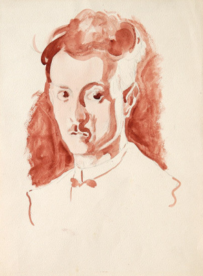 """Леон Спиллиарт. Self-portrait, 1911 Red watercolour and pencil on paper """"Oh man you're nothing but a fleeting dream, a sorrowful revery, you exist only through pain, through the sadness of your soul and a tone melancholy of your thoughts""""_Léon Spilliaert"""