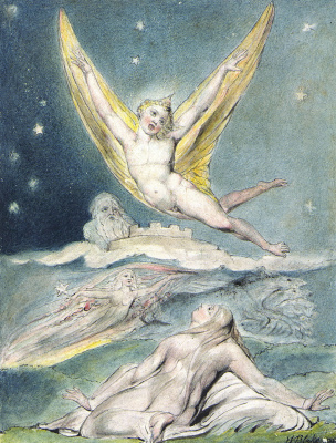 """William Blake. Night, amazed at the Lark. Illustrations to the poems of Milton's """"Fun"""" and """"Thoughtful"""""""