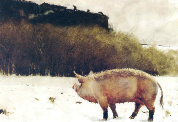 Jamie Wyeth. The pig near the railroad