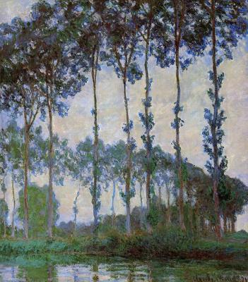 Claude Monet. Poplars on the river Epte at dusk