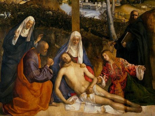 Джованни Беллини. Плач над мертвым Христом. Фрагмент