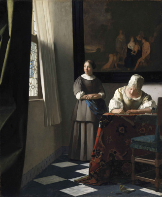 Lady writing a letter her maid
