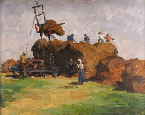 Григорий Александрович Сретенский. Уборка сена. 1966  Картон, масло.33 х 42 см.