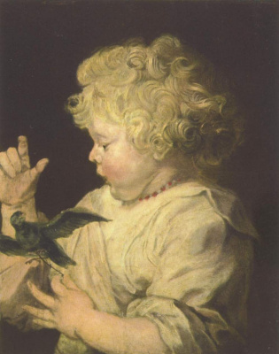 Peter Paul Rubens. Portrait child with bird