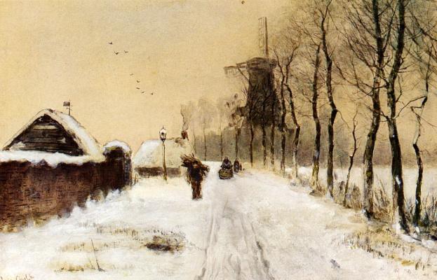 Луи Апол. Сбор хвороста в проселочном переулке в зимний период
