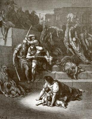 Paul Gustave Dore. Bible Illustration: Beating Babies in Bethlehem