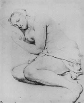 Адриан ван де Вельде. Лежащая обнаженная молодая женщина