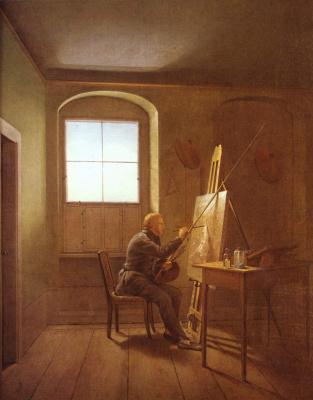 Георг Фридрих Керстинг. Каспар Давид Фридрих в своей студии
