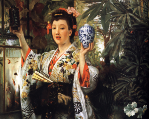 James Tissot. Young lady in a dress with Japanese ornaments
