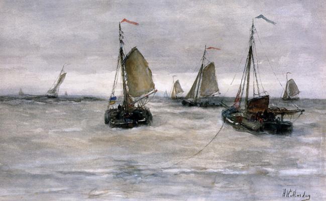 Хендрик Виллем Месдаг. Корабли в изменчивом море