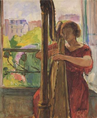 Анри Лебаск. Девушка играет на арфе