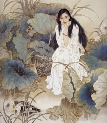 Джао  Гуоджин и Мейфенг Ванг. Девушка в саду
