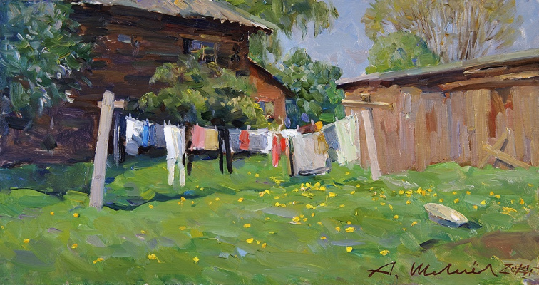 Александр Викторович Шевелёв. Noon. D. V. P., oil 22 x 42 cm 2014