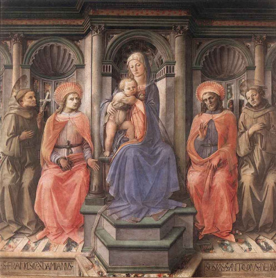 Fra Filippo Lippi. Madonna enthroned with swathi
