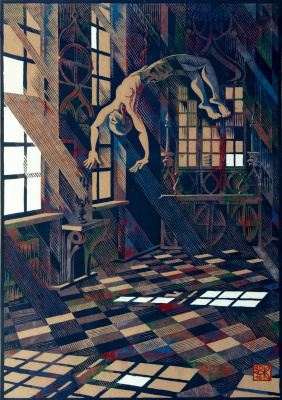 "Vladimir Kataev. ""Flying in the interior-3"", Х3М, AR, 2/3, craft, applique, 65/45, 2016"