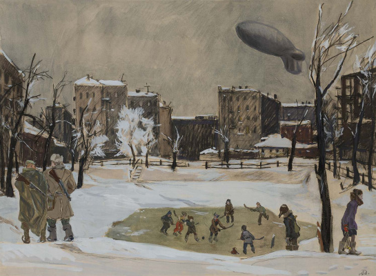 """Alexander Alexandrovich Deineka. Evening. Patriarch's ponds. From the series """"Moscow's military"""""""