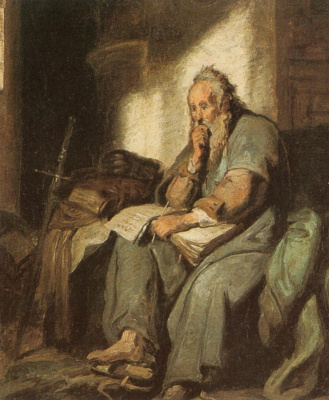 Karl Spitzweg. The Apostle Paul in prison (Rembrandt van Rhine)