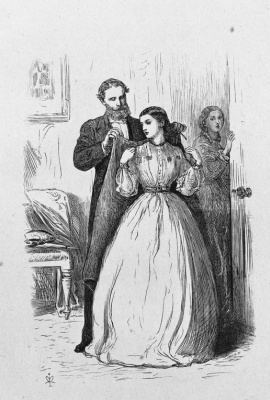 """One kiss, before we..."" Illustration for Anthony Trollope, ""the Irishman Phineas Finn"""