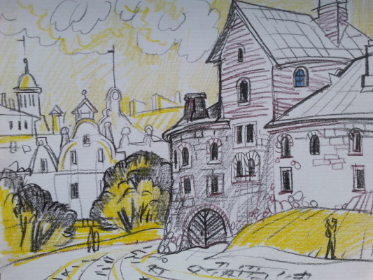 """Natalia Gennadievna Torlopova. A series of graphic sketches of """"St. Petersburg and ITS SUBURBS: the Courtyard of the Vyborg fortress, 2016"""