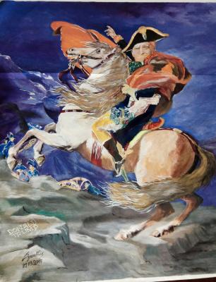 Оригинальная картина-портрет «Дональд Трамп на коне».Политическая сатира.