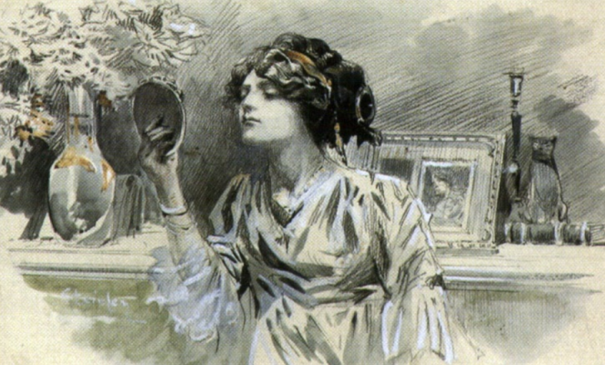 Theophile-Alexander Steinlen. Beauty before a mirror