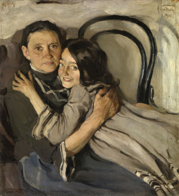 Isaac Brodsky. Portrait of the artist's mother and sister