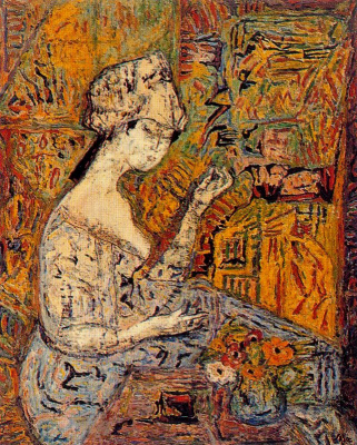 Arturo Souto. Girl and blue vase with flowers