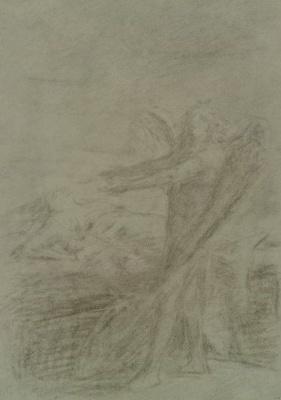 Николай Николаевич Ге. Ангел и женщина с детьми. Эскиз иллюстрации к рассказу «Чем люди живы»