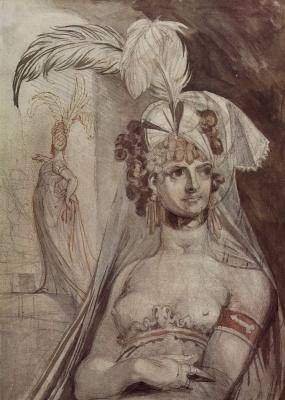 Johann Heinrich Fuessli. A half-length figure of a courtesan with feathers, bow and veil hair
