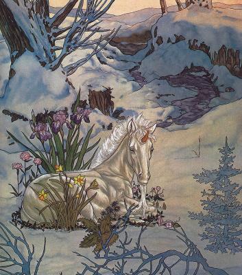 Michael haig. Unicorn in flowers