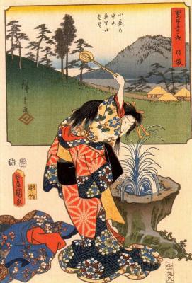 Utagawa Hiroshige. Fifty-three days, Huangbi Osaka. The woman on the background of mountain landscape