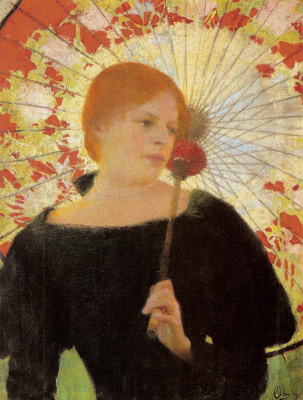 Edward Perch. Portrait of the artist's wife with umbrella